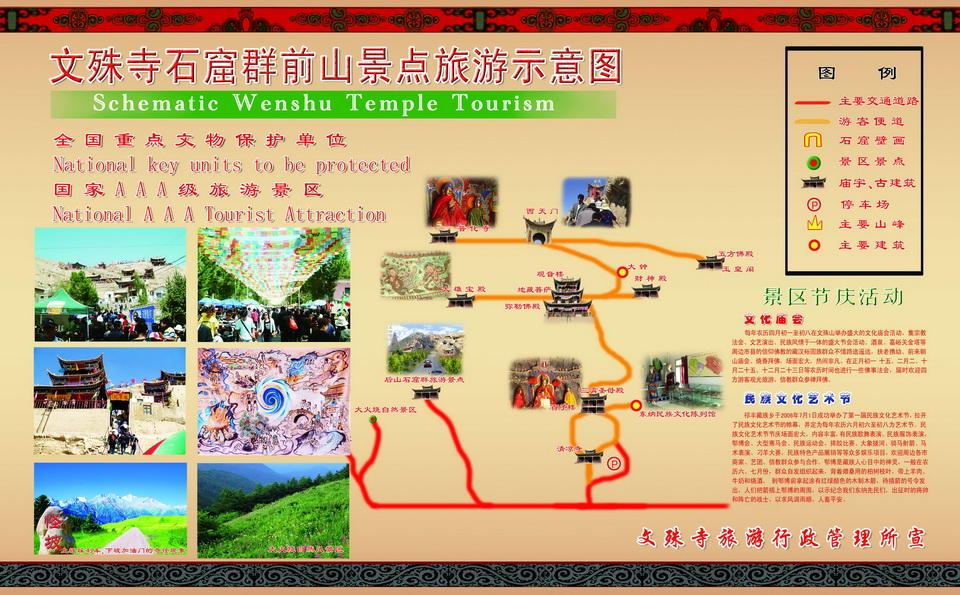 文殊寺石窟群前山景点旅游示意图